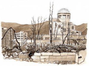 中学校の道徳の教科書に掲載された挿絵。広島原爆について吉永小百合が語るシーンのためのイラスト。